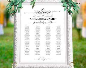 Elegant Wedding Seating Chart Poster, Printable Wedding Seating Chart Sign Template,  Alphabetical Seating Chart,