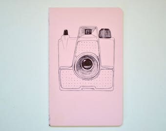 Vintage Camera Moleskine Cahier Bullet Planner Journal . Lined pages . Large . Pastel . Pink . Bullet Journal