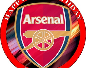 "ARSENAL FC - Design 1... Personalized 7.5"" Edible Circle Icing Cake Topper"