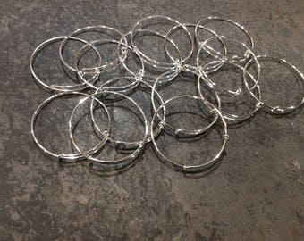 BULK BANGLE SALE Set of 15 Child Size Adjustable bangle bracelets in silver finish Great for small wrists!