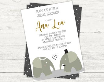 Elephant Bridal Shower Invitation