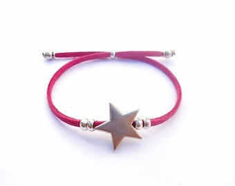 Suede bracelet Fuchsia pink and silver plated star