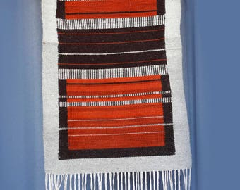 Vintage wool rug or wall hanging -cream rust brown stripes striped bands w long fringe