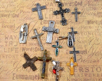 Religious Supply LOT of 14 Crucifixes Crosses Assorted Styles Crucifixes Repurposing Lot Reuse Lot Religious Destash Lot Crucifix Lot