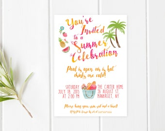 Pool Party Invitation, Summer Party Invitation, Back Yard Party Invitation, Tropical Party Invitation, Printable Pool Party Invitation