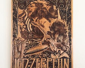 Led Zeppelin, Led zeppelin Poster, Mini Engraving on Wood, Music Room Decor, Jimmy Page Art, Led Zeppelin Artwork, Classic Rock Custom