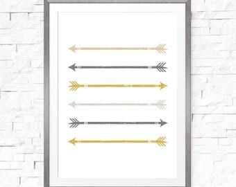 Gold nursery decor, Gold arrow wall decor, Arrow print, Nursery arrow, Grey and Mustard, Arrow printable, Beige nursery decor