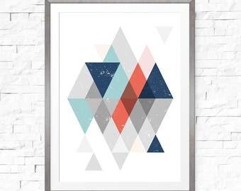 Wall Art Geometric, Geometric Pattern, Art Prints, Printable Downloads, Navy Blue, Geometric Art Print, Nordic Poster, Scandinavian Modern