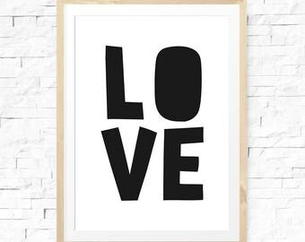 Love sign, Nursery Decor, Nursery Love Sign, Nursery Sign, Black Typography, Nordic Nursery, Love poster, Modern Nursery Print, Love Prints