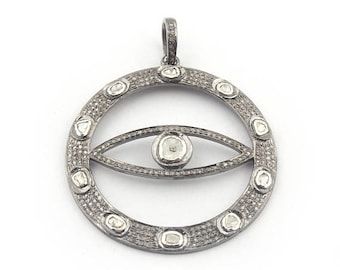 March Sale 1 PC Pave Diamond Evil Eye With Rose Cut Diamond Round Pendant - 925 Sterling Silver 48mmx44mm PD1455