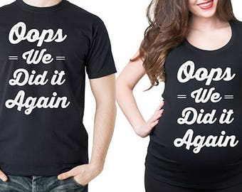 Pregnancy Couple T-Shirts Funny Maternity Top Dad Maternity Birth Announcement Photo Shoot Ideas Tee Shirts