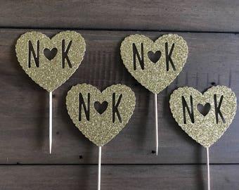 24 Gold Glitter Wedding Initials Cupcake Topper> Rustic Wedding Cupcake Toppers>Glitter Cupcake Toppers>Bridal Shower Decor> Glitter Toppers