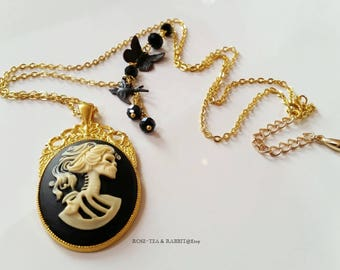 Gorgeous Skeleton Lady Cameo - Pendant Necklace - Goldtone - Butterfly & Swallow Detail - Faceted Crystals- Long Necklace - Modern-Vintage