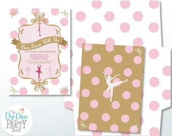 Ballerina Party Printable Invitation in Pink & Gold, 5x7in. Instant Download