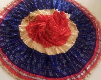 A2 Indian circle skirt for dance. Gold print long maxi skirt for women. Elastic waist gypsy boho skirt. Gift for her wedding anniversary