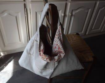 Handbag fabric reversible liberty/ecru linen, with pockets