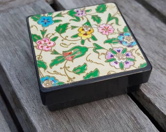 Natural lip balm in a vintage floral trinket box - made to order lip balm, lavender, peppermint, rose, vanilla