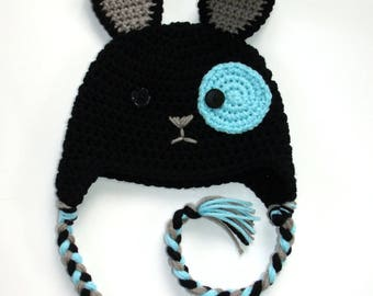 Knitted black bunny cap, crocheted dark rabbit beanie, cute animal hat for kids teens and adults