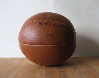 Vintage German Original All-Leather 3 kg Gymnasium Medicine Ball _Exercise Weight_Pilates, Yoga, Meditation