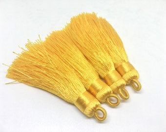 Yellow Tassels, tassel earrings, Silk Tassels, 3 Inch 80mm Tassel, yellow jewelry, tassel necklace, yellow necklace, long yellow tassel