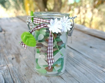 Mixed Sea Glass Jar, Glass In A Bottle, Nautical Decor, Housewarming Gift,