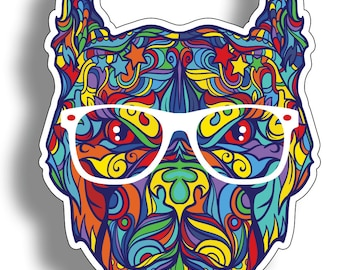 Pit Bull Pitbull Graffiti with Glasses Dog Sticker Die Cut Digitally Printed Vinyl Graphic for Cup Cooler Car Truck Window Tumbler