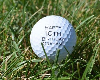 Personalized Golf Balls - SET OF 3 -  Birthday Golf Balls - Printed Golf Balls - Golf Nut Gift - Unique Birthday Gift