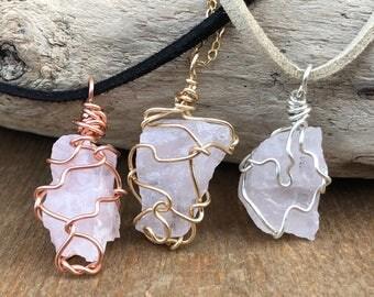 Rose Quartz Necklace - Raw Crystal Necklace - Rough Rose Quartz - Crystal Necklace - Raw Stone Necklace -Raw Quartz Necklace - Pink Crystal