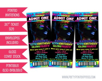 Girl Glow Invitation - Neon Glow party Invitation - Glow Invitation - Neon Party Invite - Neon Birthday Sweet 16 - Teen Girls all white