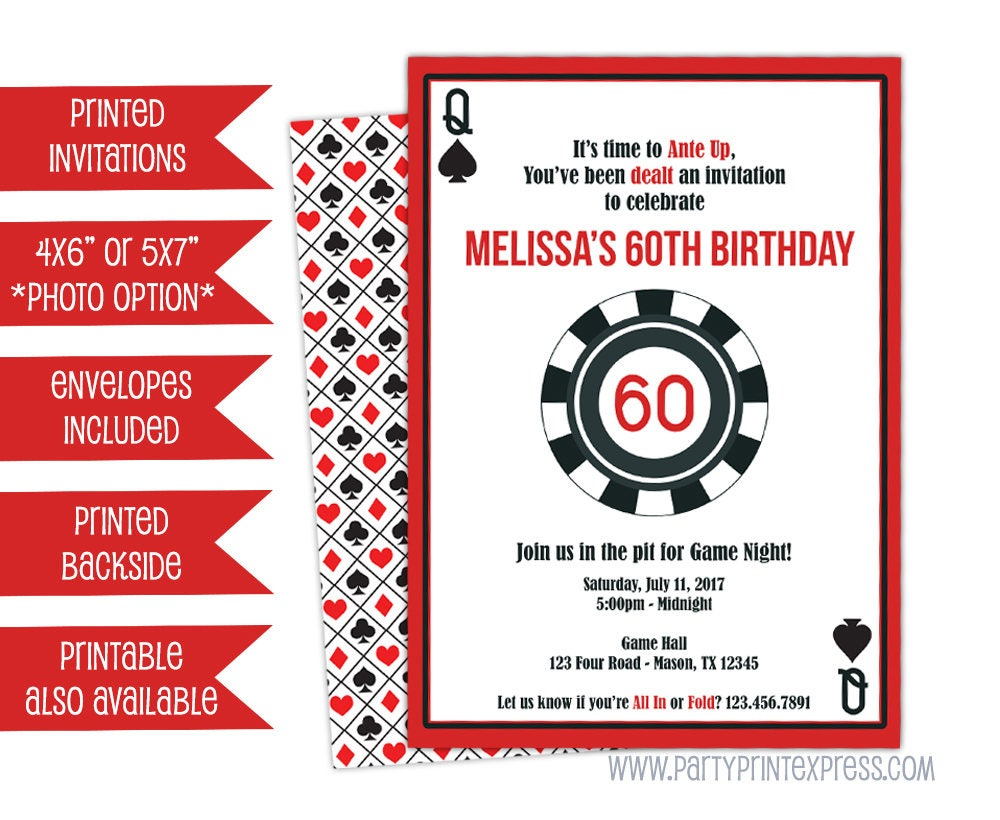 Casino Invitations Poker Invitations Man Birthday
