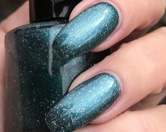 Super Dew  teal shimmer nail polish
