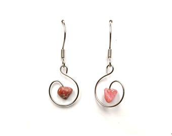 Bohemian romantic jewelry pink stone, rhodonite earrings rhodonite jewelry romantic bohemian earring natural stone alternative jewelry aywin