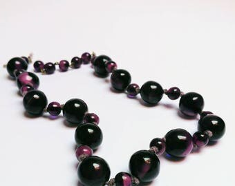 Antique amethist glass beads necklace