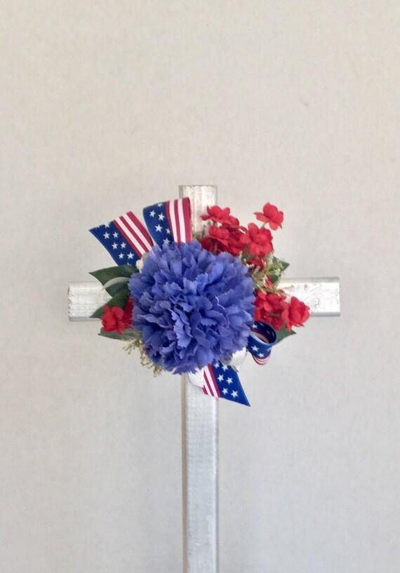Patriotic Cemetery cross, cemetery flowers, red white and blue grave decoration, memorial cross, grave marker, floralmemorials