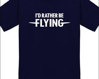 Pilot Shirt I'D Rather Be Flying T-Shirt Airplane Jet Glider Plane Flyer Gift