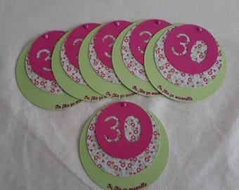 Set of 6 birthday invitations 30 liberty theme