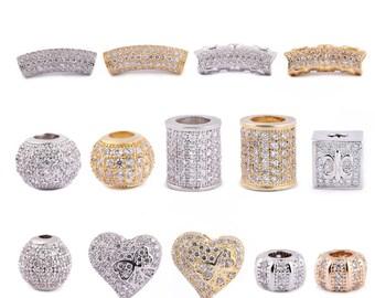 DIY 14K Gold Plated Rhinestone Ball/Box/Tube Beads for  Bracelet/ Necklace-WEN38367674969-GVN