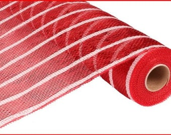 """21"""" Red White Stripe Deco Poly Mesh RE1033F8, Red White Thin Stripe Deco Poly Mesh, Red White Metallic Deco Mesh  (10 Yards) - RE1033F8"""