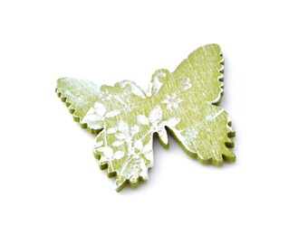Butterfly wooden green and white 4 cm sticker embellishment.