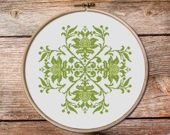 floral ornament cross stitch #005, flowers cross stitch, cross stitch pattern, counted cross stitch, floral ornament, pillow cross stitch