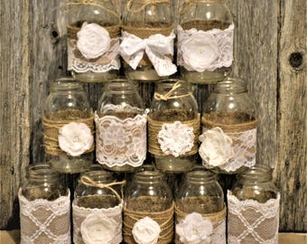 Mason jar decoration etsy mason jar wedding centerpiece rustic wedding decorations burlap mason jars white wedding junglespirit Gallery