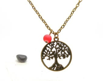 Collier mi long tree of life, Pearl Pink