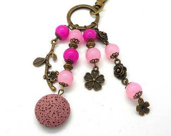 A scent! door keys or bronze bag charm, pink beads charms