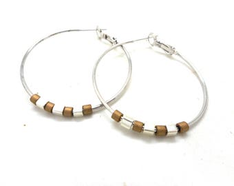 Earrings silver Hoop style, bronze and silver beads