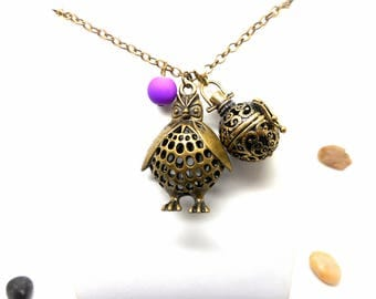 A scent! Necklace has perfume OWL pendant purple bead charms and co.