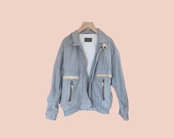 vintage dusty blue bomber style jacket // size womens medium