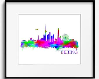 Beijing Skyline Watercolor Art Print (254) Cityscape,China, Travel, City, Abstract