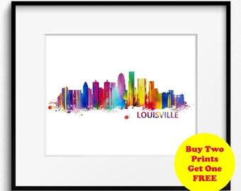 Louisville Skyline Watercolor Art Print (031)