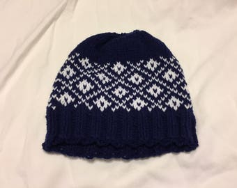 Diamond Pattern Fair Isle Knit Hat