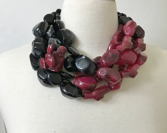 Stunning Haute Couture Black & Burgundy Buddha Resin Large Necklace